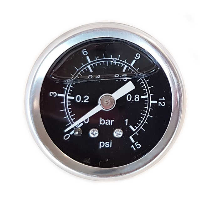 Fuel pressure gauge 0-1 bar black (Carburetor)